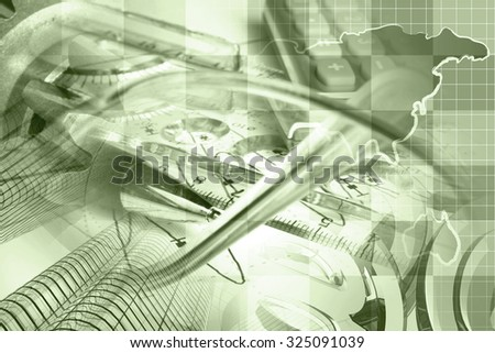 Business background in sepia with map, buildings, graph and pen. - stock photo