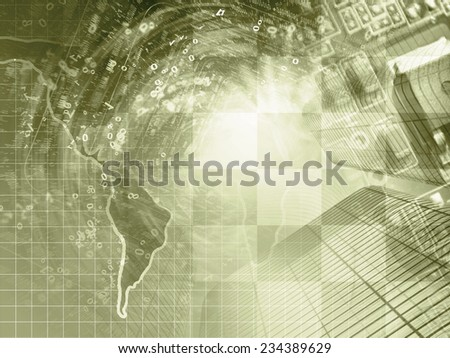 Business background in sepia with map, electronic device and digits. - stock photo