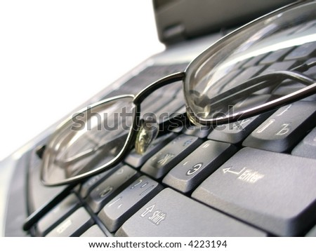 Business background. Lawyer concept. Glasses and laptop keyboard. Lawyer office. Office computer. Computer keyboard. Keyboards buttons, mortgage office. Loan money concept, business style
