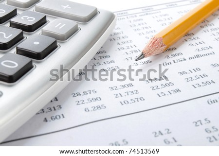Business background, market analysis concept with financial data, pencil and calculator - stock photo
