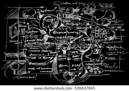 Business background on blackboard. - stock photo
