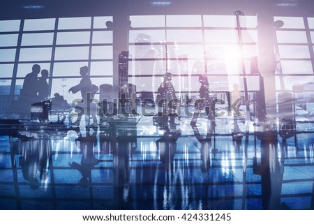 business background, people walking in airport, double exposure - stock photo