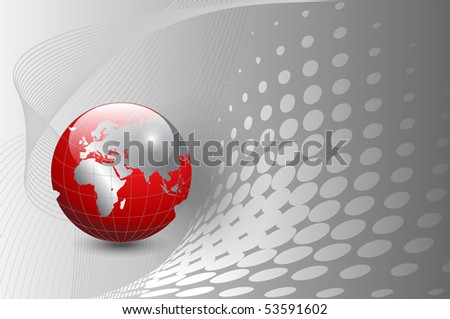 Business background, silver with red world globe. Jpg version. - stock photo