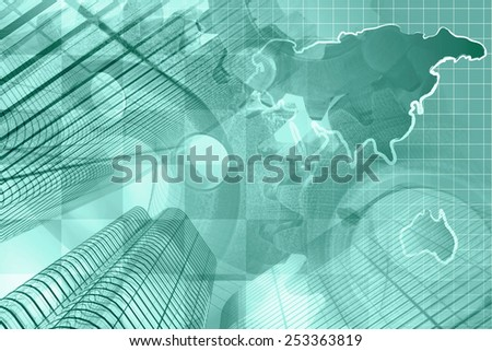 Business background with buildings, map and gear, green toned. - stock photo