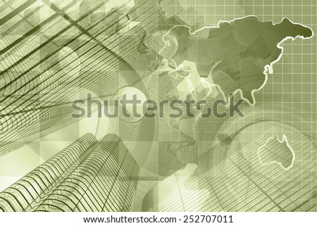 Business background with buildings, map and gear, sepia toned. - stock photo