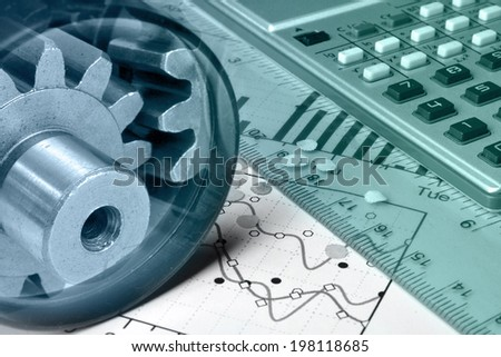 Business background with calculator, gears and graph, in greens and blues.