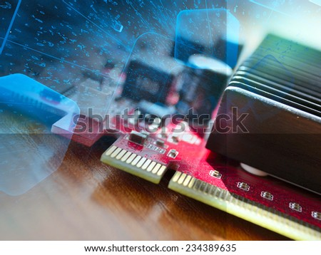 Business background with electronic device and digits. - stock photo