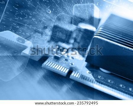 Business background with electronic device and digits, blue toned. - stock photo
