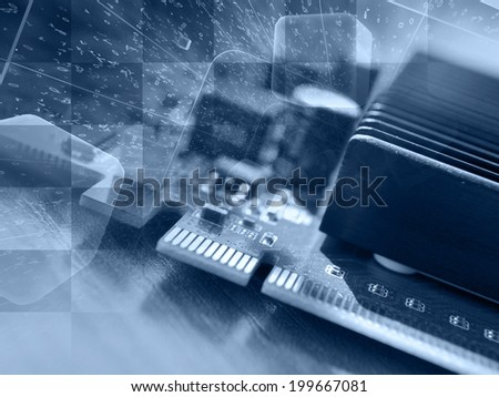 Business background with electronic device and digits, in blues. - stock photo