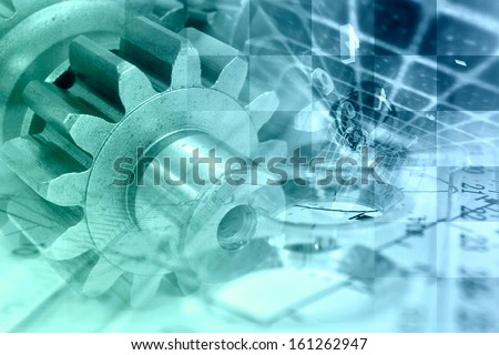 Business background with gear and digits in greens and blues.