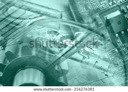 Business background with gear, graph and electronic device, green toned. - stock photo
