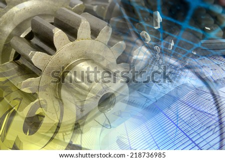 Business background with gears and digits. - stock photo
