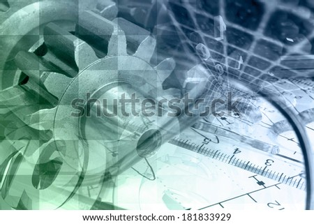 Business background with gears and mail signs, in greens and blues. - stock photo