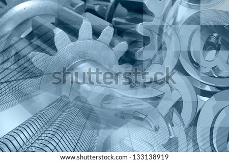 Business background with gears, buildings and mail signs, blue toned. - stock photo