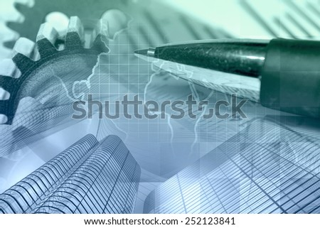 Business background with gears, buildings, map and pen, in greens and blues. - stock photo
