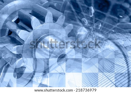 Business background with graph, gear and buildings, blue toned. - stock photo