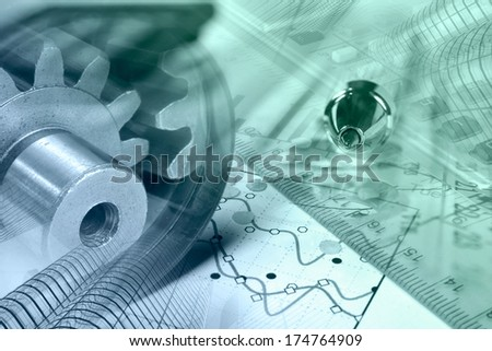 Business background with graph, gear and buildings, in greens and blues. - stock photo