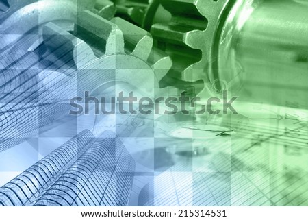 Business background with graph, gear and buildings, in greens and white. - stock photo