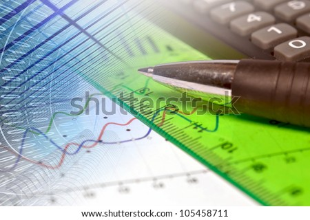 Business background with graph, ruler and pen. - stock photo
