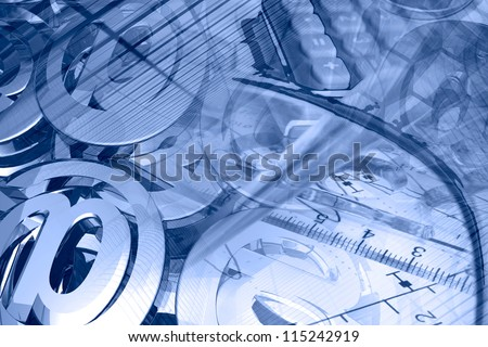 Business background with graph, ruler, pen, buildings and calculator, in blues. - stock photo