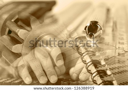 Business background with hands, gears and pen, in sepia. - stock photo