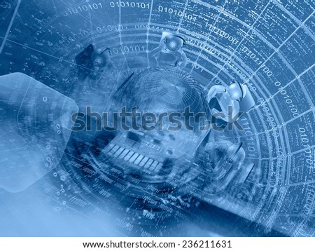 Business background with mans, globe and digits, blue toned. - stock photo