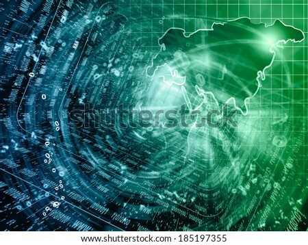 Business background with map and mail signs, in greens and blues. - stock photo