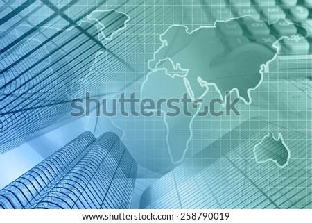 Business background with map, calculator and buildings, in greens and blues. - stock photo