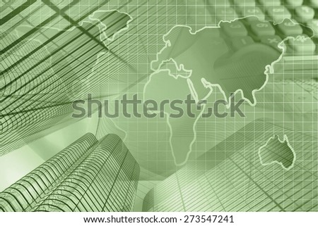 Business background with map, calculator and buildings, sepia toned. - stock photo