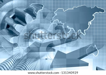 Business background with map, gear and buildings, blue toned. - stock photo