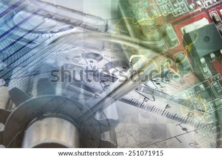 Business background with map, gears and electronic device. - stock photo