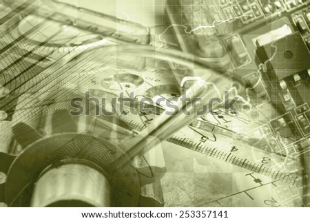 Business background with map, gears and electronic device, sepia toned. - stock photo