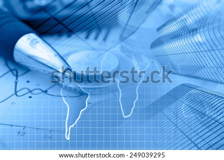 Business background with money, calculator and pen, blue toned. - stock photo