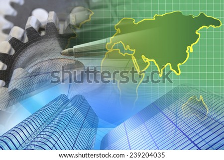 Business background with money, gears and pen. - stock photo