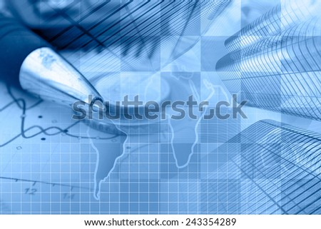 Business background with money, graph and buildings, blue toned.