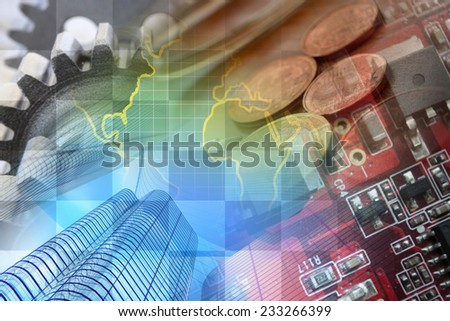 Business background with office buildings and gears. - stock photo