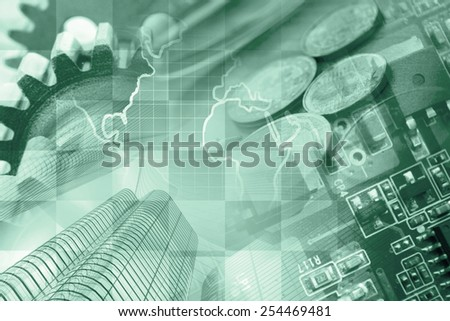 Business background with office buildings and gears, green toned. - stock photo