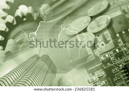 Business background with office buildings and gears, in sepia. - stock photo