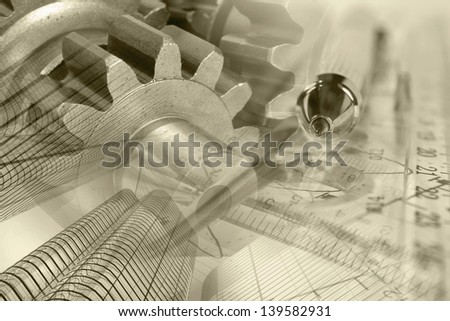 Business background with pen, gear and buildings, sepia toned. - stock photo