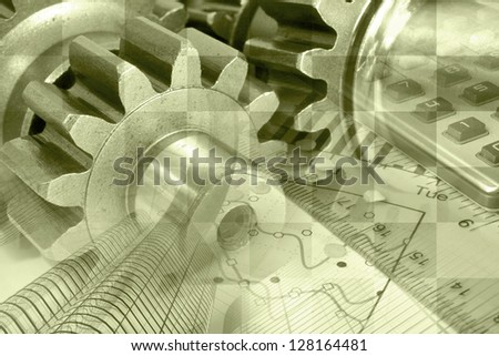 Business background with ruler, gear and table, sepia toned. - stock photo
