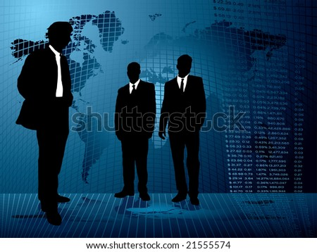 Business background with three men meeting on an abstract background