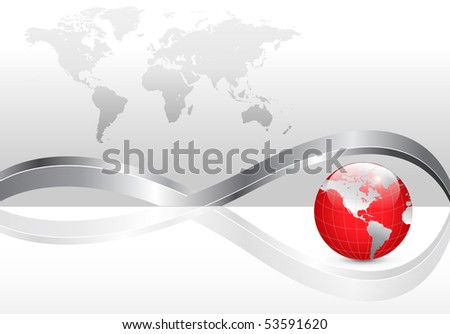 Business background with world map and red earth globe. Jpg version. - stock photo