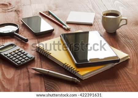 business background. Workplace businessman or a freelancer. Layout.