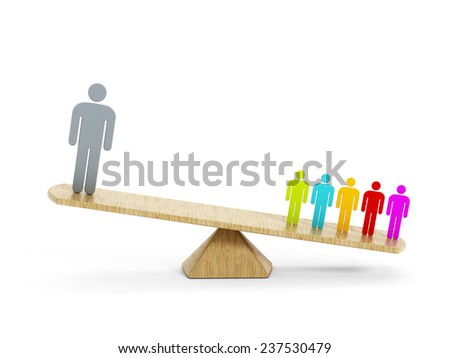 Business balance concept with one man versus a group of people on the seesaw.