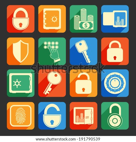 Business banking finance lock safe icons  set of security protection credit circle isolated  illustration