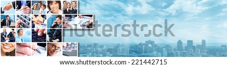 Business banner. Group of people working in the office collage - stock photo