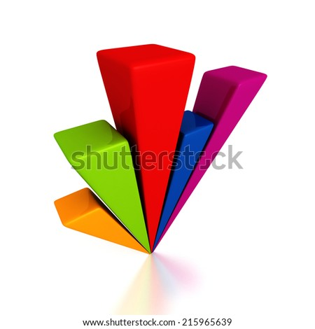 business bar chart diagram with reflection. 3d render illustration - stock photo