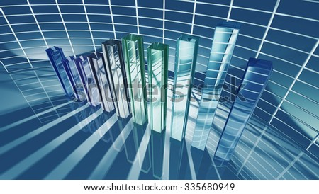 Business bar chart for economic concept. 3D rendering - stock photo