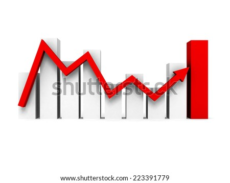 Business bar chart graph with rising red arrow. 3d render illustration