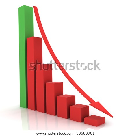 Business bar chart with arrow pointing down - stock photo